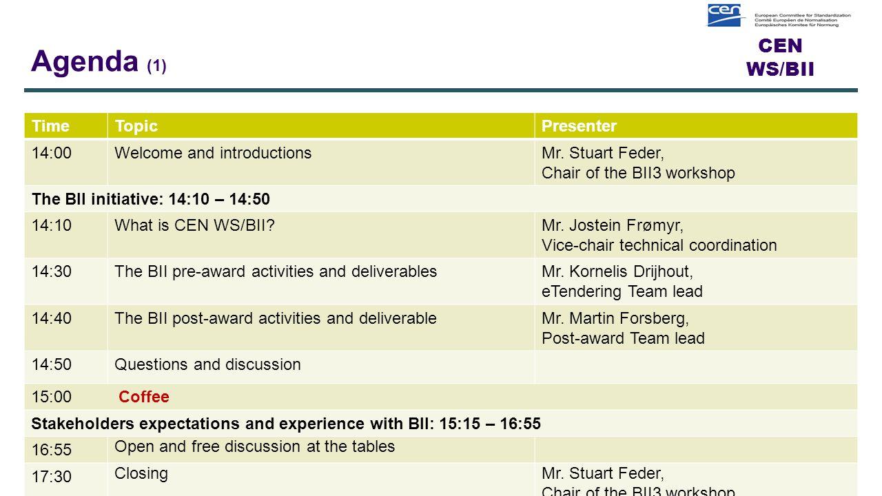 CEN WS/BII Agenda (1) TimeTopicPresenter 14:00Welcome and introductionsMr.