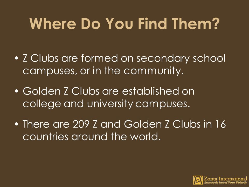 Where Do You Find Them.Z Clubs are formed on secondary school campuses, or in the community.