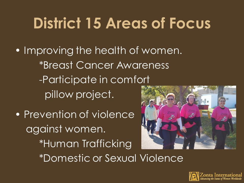 District 15 Areas of Focus Improving the health of women.