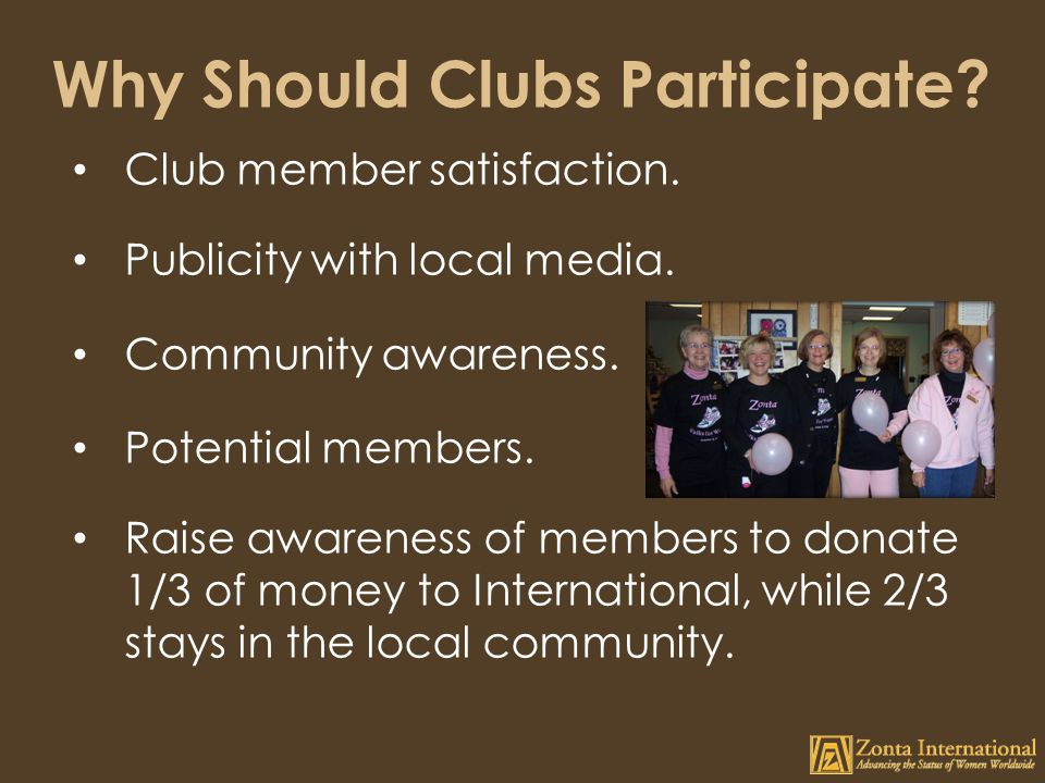 Why Should Clubs Participate.Club member satisfaction.