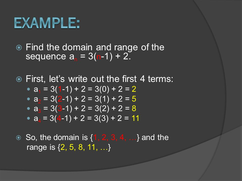  Write the recursive equation for the series 3, 6, 12, 24, 48…  Identify the pattern: The first term is 3.