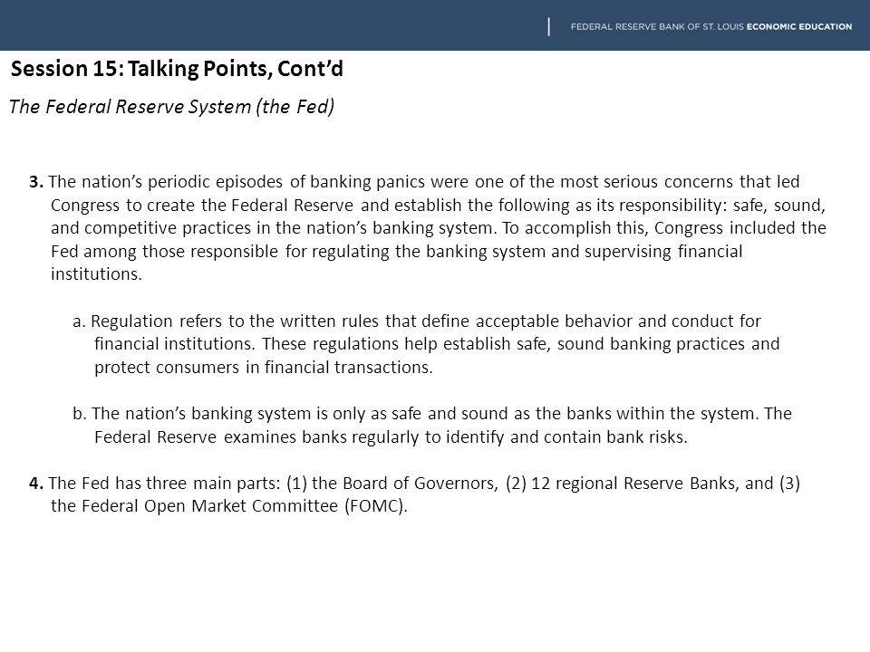 Session 15: Talking Points, Cont'd Fiscal Policy 1.