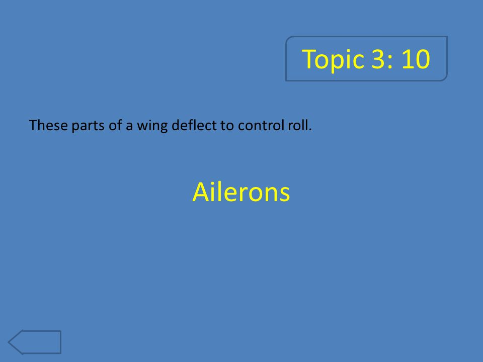 Topic 3: 10 These parts of a wing deflect to control roll. Ailerons