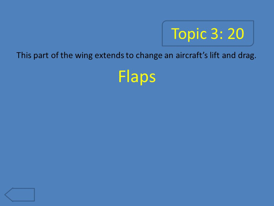Topic 3: 20 This part of the wing extends to change an aircraft's lift and drag. Flaps