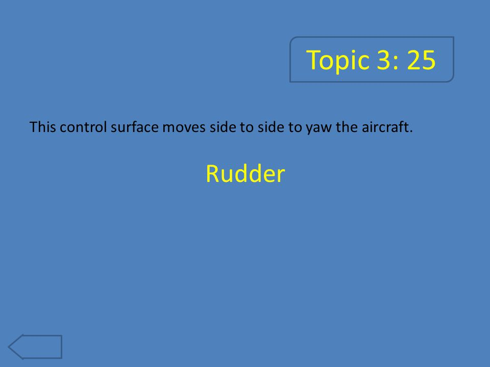 Topic 3: 25 This control surface moves side to side to yaw the aircraft. Rudder