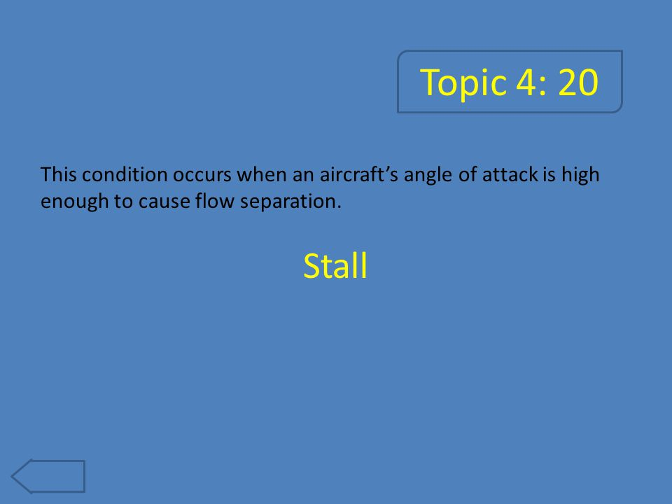 Topic 4: 20 This condition occurs when an aircraft's angle of attack is high enough to cause flow separation.
