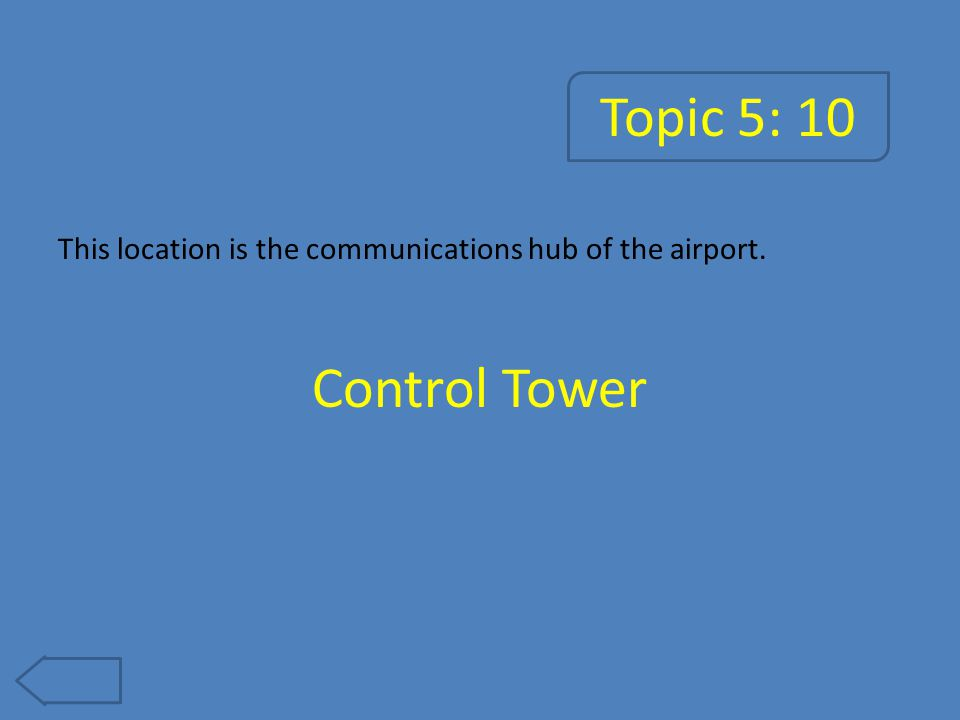 Topic 5: 10 This location is the communications hub of the airport. Control Tower