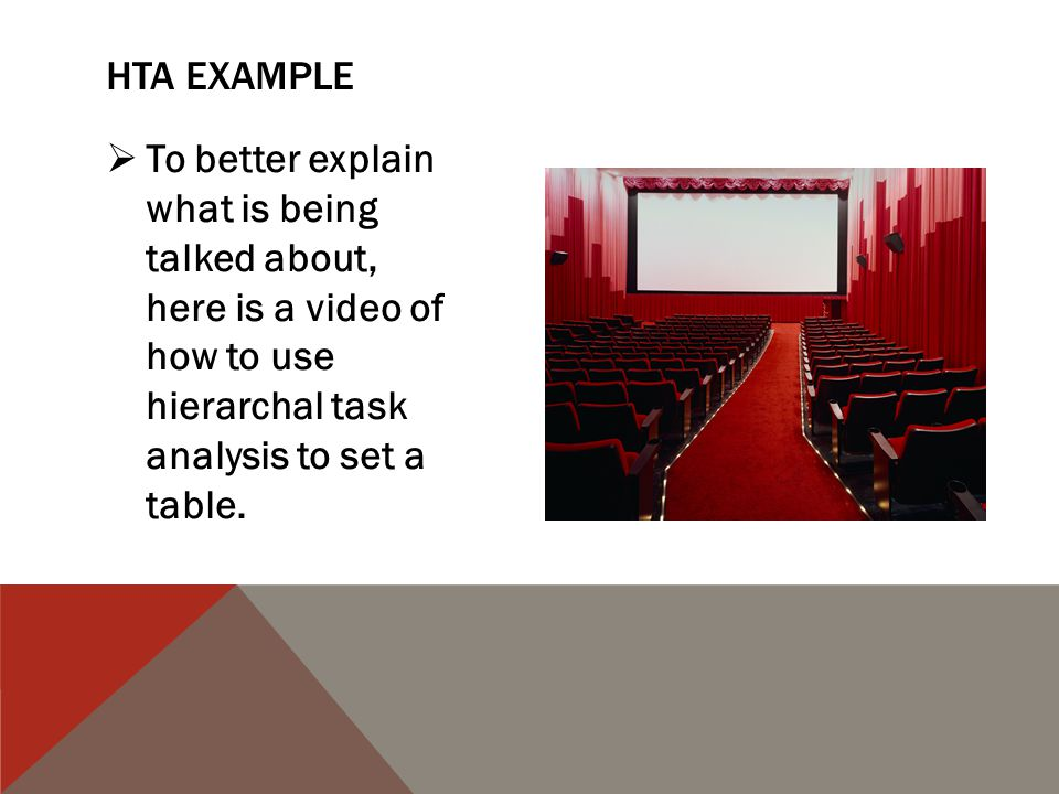  To better explain what is being talked about, here is a video of how to use hierarchal task analysis to set a table.