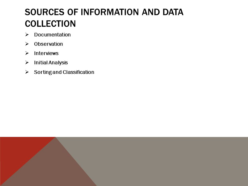 SOURCES OF INFORMATION AND DATA COLLECTION  Documentation  Observation  Interviews  Initial Analysis  Sorting and Classification