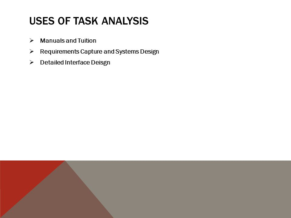 USES OF TASK ANALYSIS  Manuals and Tuition  Requirements Capture and Systems Design  Detailed Interface Deisgn