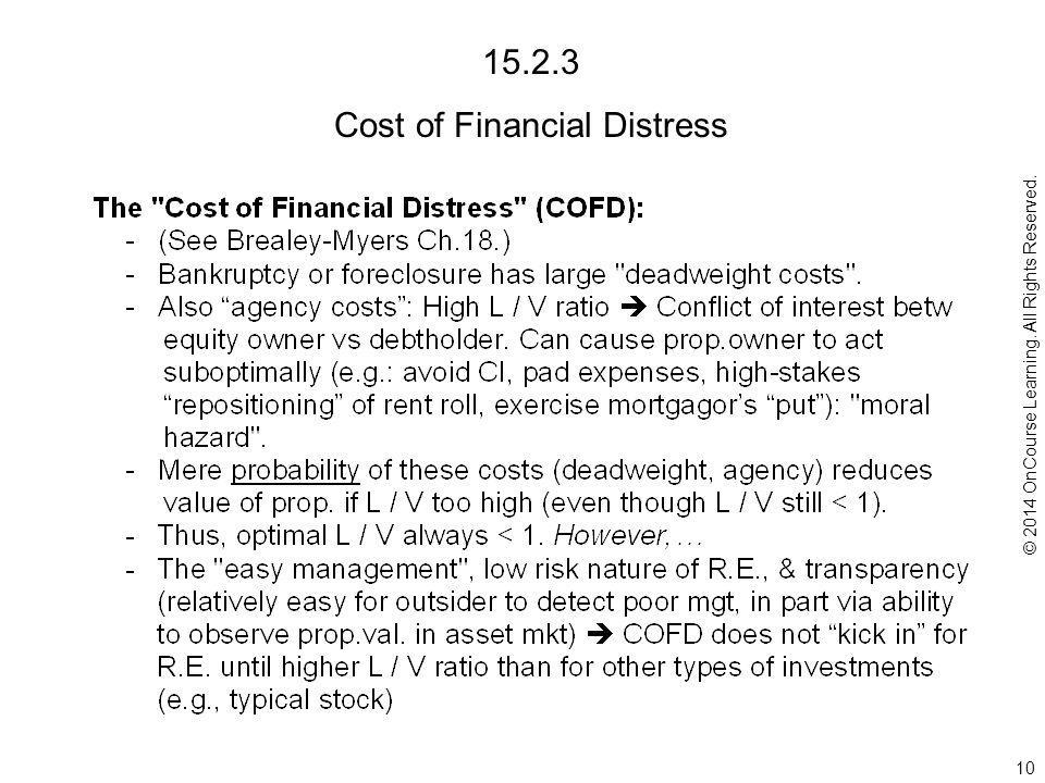 15.2.3 Cost of Financial Distress 10 © 2014 OnCourse Learning. All Rights Reserved.
