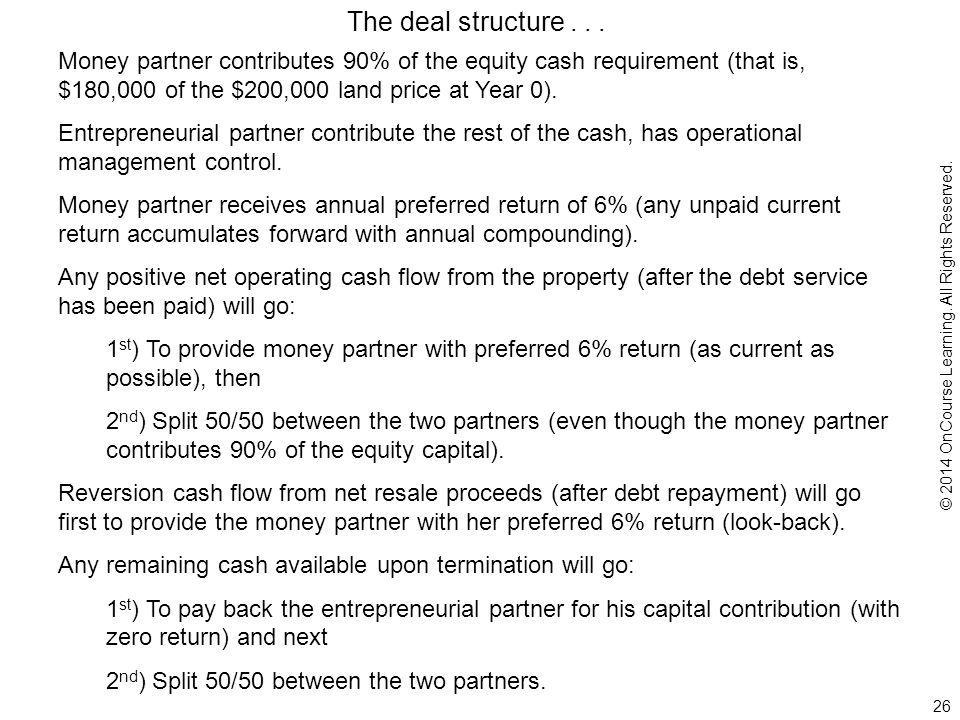 26 Money partner contributes 90% of the equity cash requirement (that is, $180,000 of the $200,000 land price at Year 0).