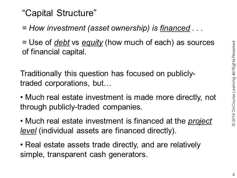 Capital Structure = How investment (asset ownership) is financed...