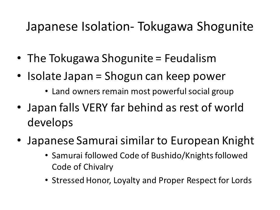 Japanese Isolation- Tokugawa Shogunite The Tokugawa Shogunite = Feudalism Isolate Japan = Shogun can keep power Land owners remain most powerful socia