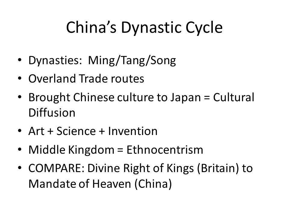 China's Dynastic Cycle Dynasties: Ming/Tang/Song Overland Trade routes Brought Chinese culture to Japan = Cultural Diffusion Art + Science + Invention