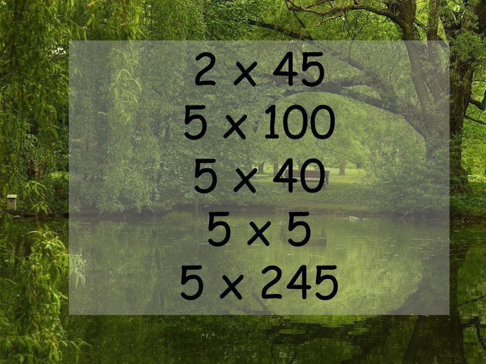 2 x 45 5 x 100 5 x 40 5 x 5 5 x 245