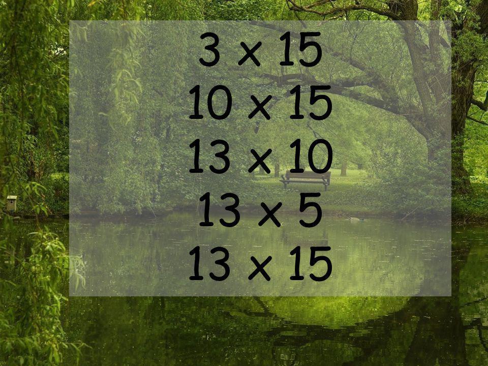 3 x 15 10 x 15 13 x 10 13 x 5 13 x 15