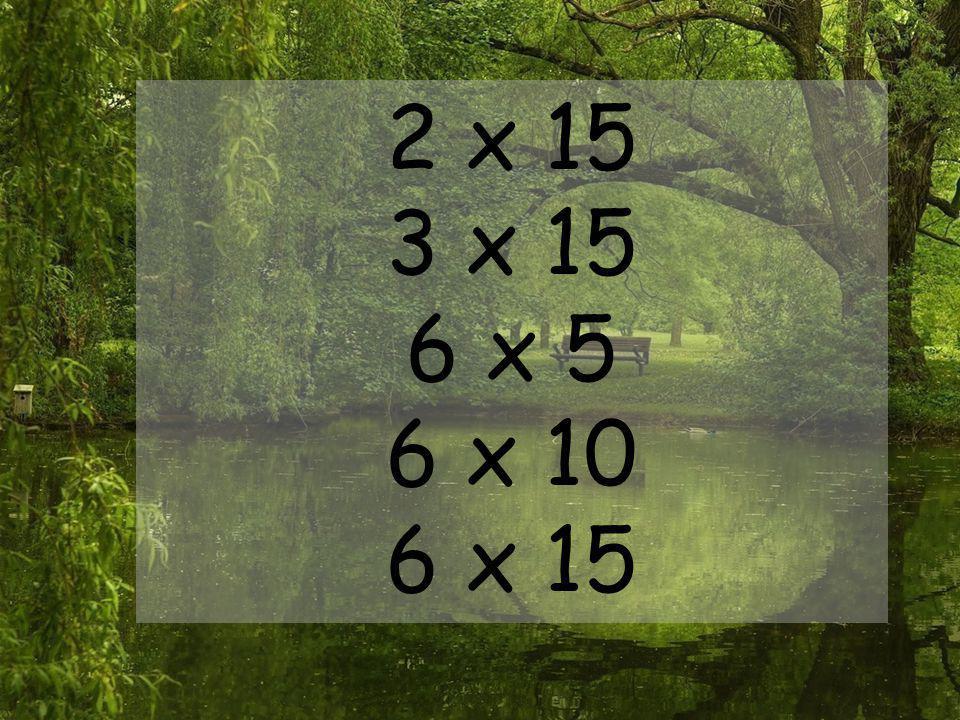 2 x 15 3 x 15 6 x 5 6 x 10 6 x 15