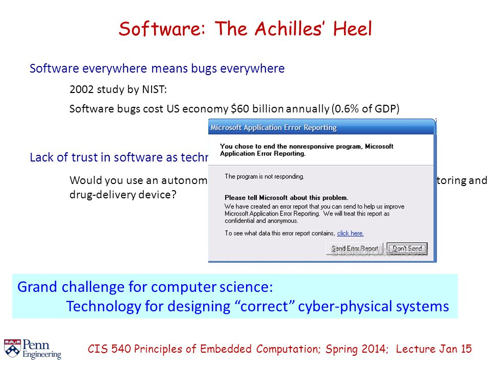 Software: The Achilles' Heel Software everywhere means bugs everywhere 2002 study by NIST: Software bugs cost US economy $60 billion annually (0.6% of GDP) Lack of trust in software as technology barrier Would you use an autonomous software-controlled round-the-clock monitoring and drug-delivery device.