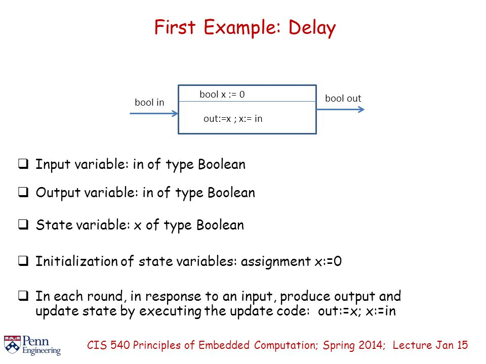 First Example: Delay  Input variable: in of type Boolean CIS 540 Principles of Embedded Computation; Spring 2014; Lecture Jan 15 bool in bool out bool x := 0 out:=x ; x:= in  Output variable: in of type Boolean  State variable: x of type Boolean  Initialization of state variables: assignment x:=0  In each round, in response to an input, produce output and update state by executing the update code: out:=x; x:=in