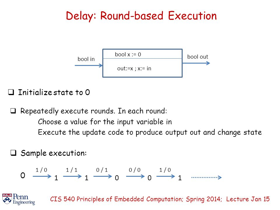 Delay: Round-based Execution  Initialize state to 0 CIS 540 Principles of Embedded Computation; Spring 2014; Lecture Jan 15 bool in bool x := 0 out:=x ; x:= in  Repeatedly execute rounds.
