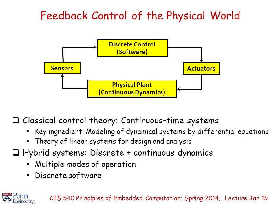 Feedback Control of the Physical World CIS 540 Principles of Embedded Computation; Spring 2014; Lecture Jan 15 Discrete Control (Software) Physical Plant (Continuous Dynamics) Sensors Actuators  Classical control theory: Continuous-time systems  Key ingredient: Modeling of dynamical systems by differential equations  Theory of linear systems for design and analysis  Hybrid systems: Discrete + continuous dynamics  Multiple modes of operation  Discrete software