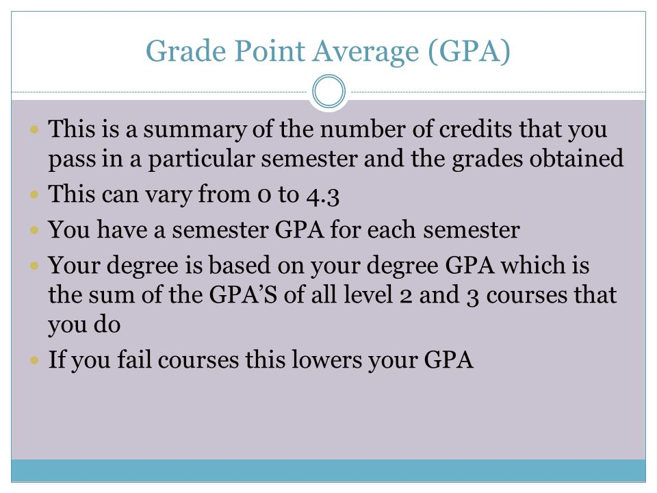 Grade Point Average (GPA) This is a summary of the number of credits that you pass in a particular semester and the grades obtained This can vary from