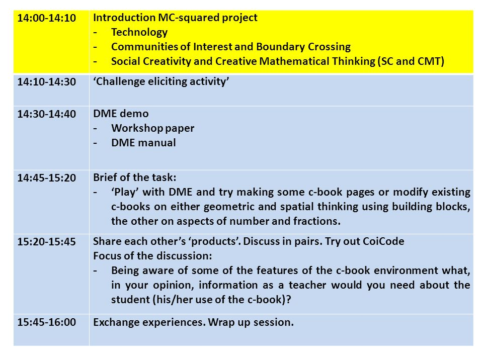 14:00-14:10Introduction MC-squared project -Technology -Communities of Interest and Boundary Crossing -Social Creativity and Creative Mathematical Thinking (SC and CMT) 14:10-14:30'Challenge eliciting activity' 14:30-14:40DME demo -Workshop paper -DME manual 14:45-15:20Brief of the task: -'Play' with DME and try making some c-book pages or modify existing c-books on either geometric and spatial thinking using building blocks, the other on aspects of number and fractions.