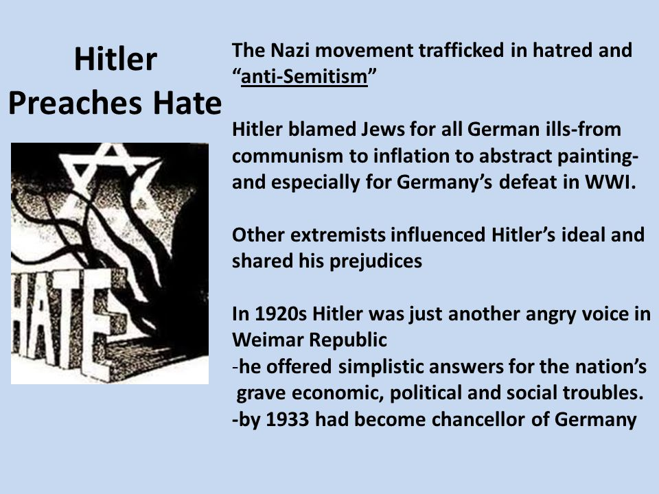 Nazis Begin the Persecution Persecution starts: 1.Starts economically - Hitler urges boycott of Jewish owned businesses - Jews were barred from jobs in civil service, banking, and stock exchange, law, journalism, and medicine 2.1935 moved to a broader legal persecution - Nuremburg Laws (named for the city that served as spiritual center of Nazism) a.