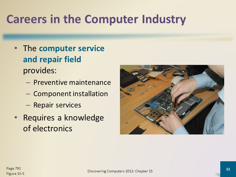 Careers in the Computer Industry The computer service and repair field provides: – Preventive maintenance – Component installation – Repair services Requires a knowledge of electronics Discovering Computers 2012: Chapter 15 11 Page 791 Figure 15-5