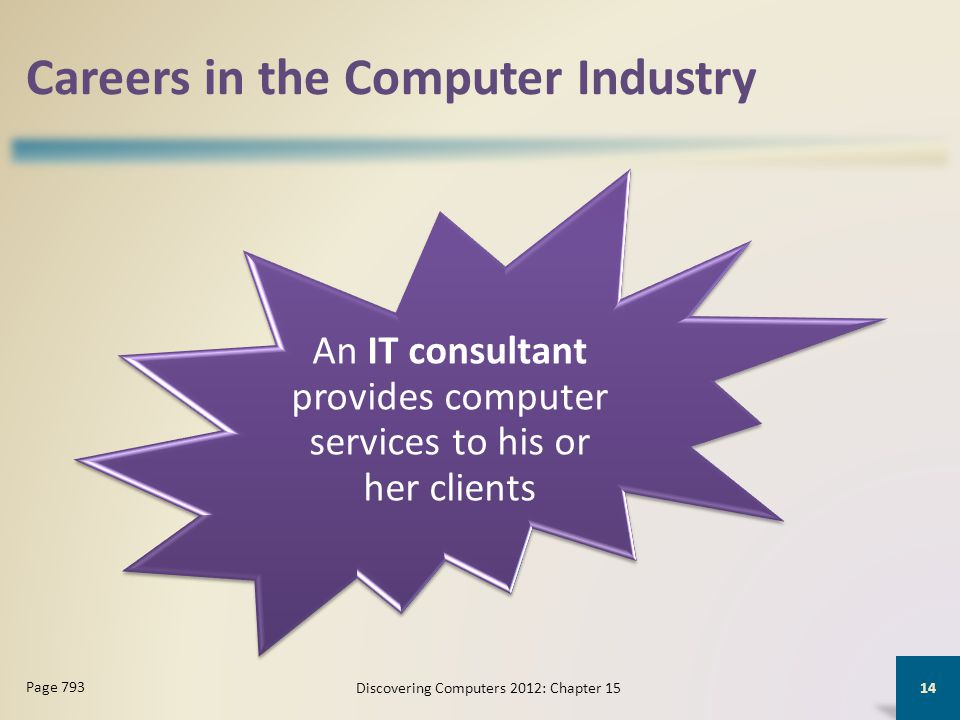 Careers in the Computer Industry An IT consultant provides computer services to his or her clients Discovering Computers 2012: Chapter 15 14 Page 793