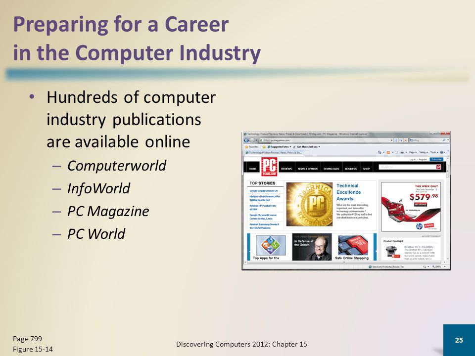 Preparing for a Career in the Computer Industry Hundreds of computer industry publications are available online – Computerworld – InfoWorld – PC Magazine – PC World Discovering Computers 2012: Chapter 15 25 Page 799 Figure 15-14