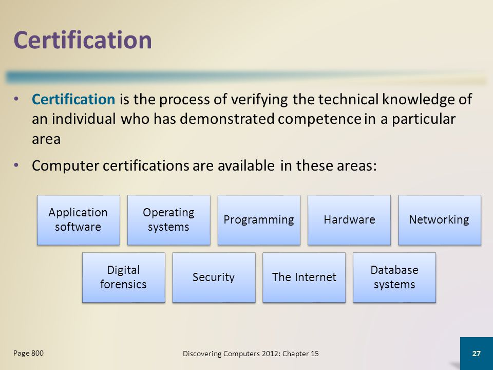 Certification Certification is the process of verifying the technical knowledge of an individual who has demonstrated competence in a particular area Computer certifications are available in these areas: Discovering Computers 2012: Chapter 15 27 Page 800 Application software Operating systems ProgrammingHardwareNetworking Digital forensics SecurityThe Internet Database systems