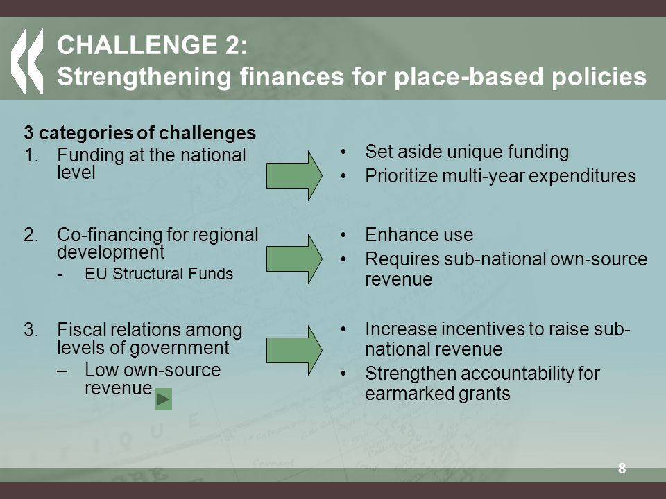 8 CHALLENGE 2: Strengthening finances for place-based policies 3 categories of challenges 1.Funding at the national level 2.Co-financing for regional development -EU Structural Funds 3.Fiscal relations among levels of government –Low own-source revenue Set aside unique funding Prioritize multi-year expenditures Increase incentives to raise sub- national revenue Strengthen accountability for earmarked grants Enhance use Requires sub-national own-source revenue