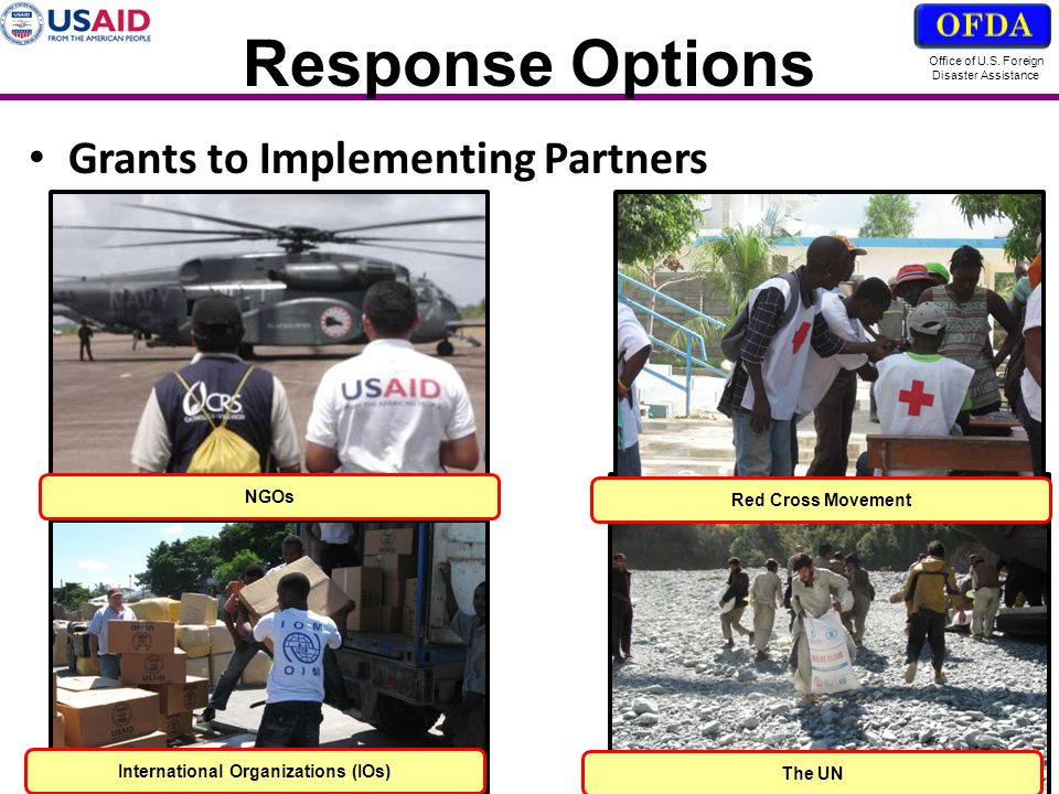 Office of U.S. Foreign Disaster Assistance Response Options Grants to Implementing Partners Red Cross Movement NGOs International Organizations (IOs)