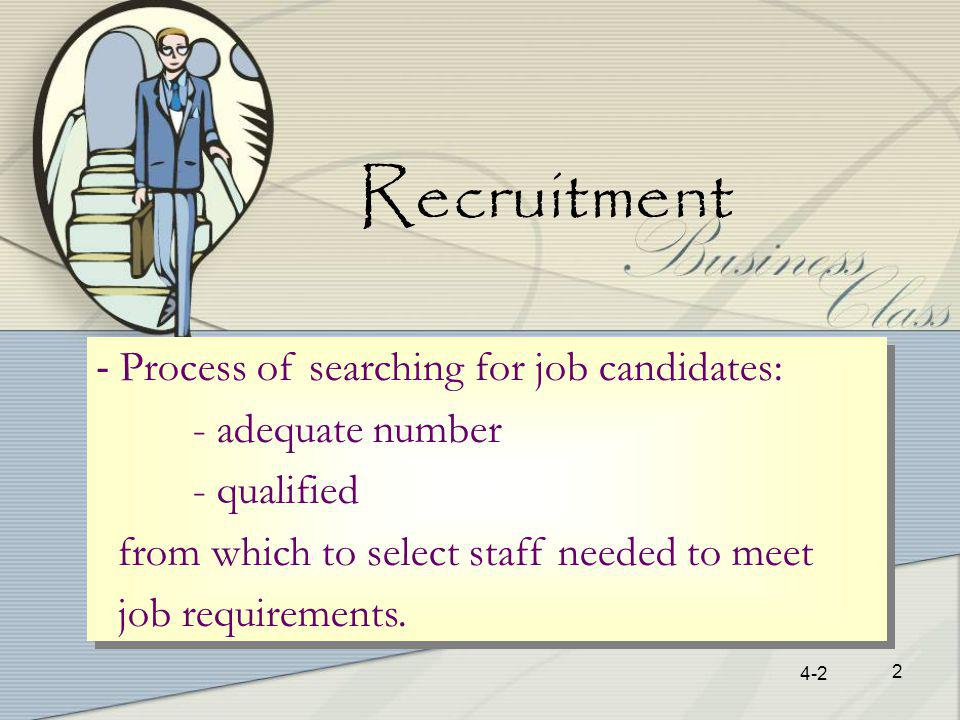 4-2 2 Recruitment - Process of searching for job candidates: - adequate number - qualified from which to select staff needed to meet job requirements.