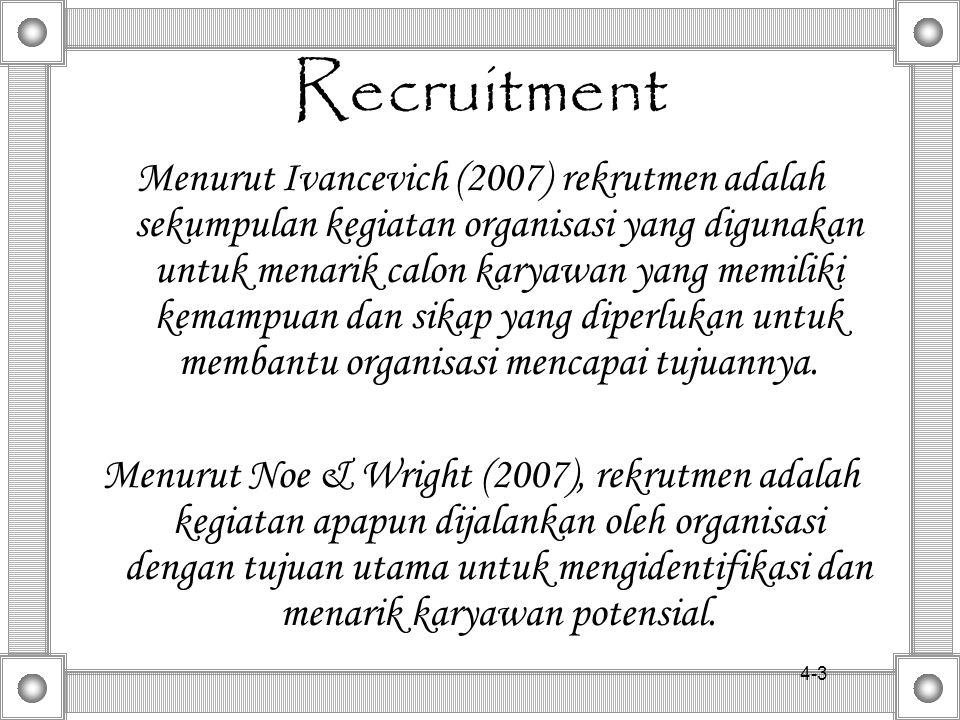4-23 23 Recruiting Outside the Organization - Media to be used depends on: - type of position - type of candidate - Construction of the ad: - AIDA (attention; interest; desire; action) - Media to be used depends on: - type of position - type of candidate - Construction of the ad: - AIDA (attention; interest; desire; action) Print Advertising