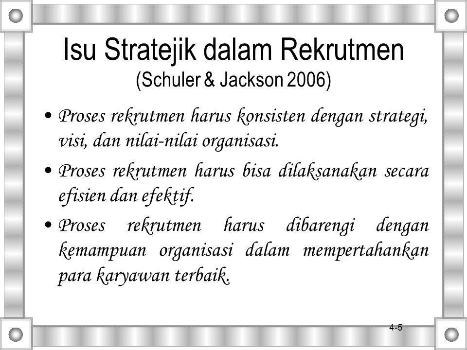 4-5 Isu Stratejik dalam Rekrutmen (Schuler & Jackson 2006) Proses rekrutmen harus konsisten dengan strategi, visi, dan nilai-nilai organisasi.