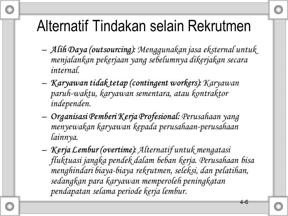 4-6 Alternatif Tindakan selain Rekrutmen –Alih Daya (outsourcing): Menggunakan jasa eksternal untuk menjalankan pekerjaan yang sebelumnya dikerjakan secara internal.