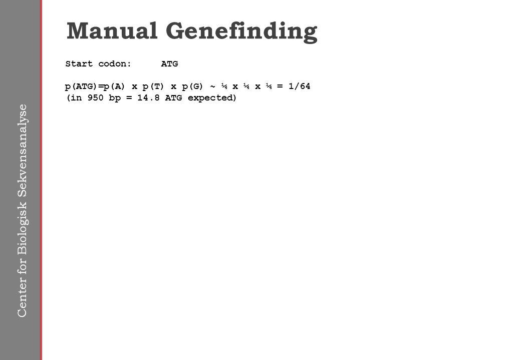 Center for Biologisk Sekvensanalyse Manual Genefinding Start codon:ATG p(ATG)=p(A) x p(T) x p(G) ~ ¼ x ¼ x ¼ = 1/64 (in 950 bp = 14.8 ATG expected)