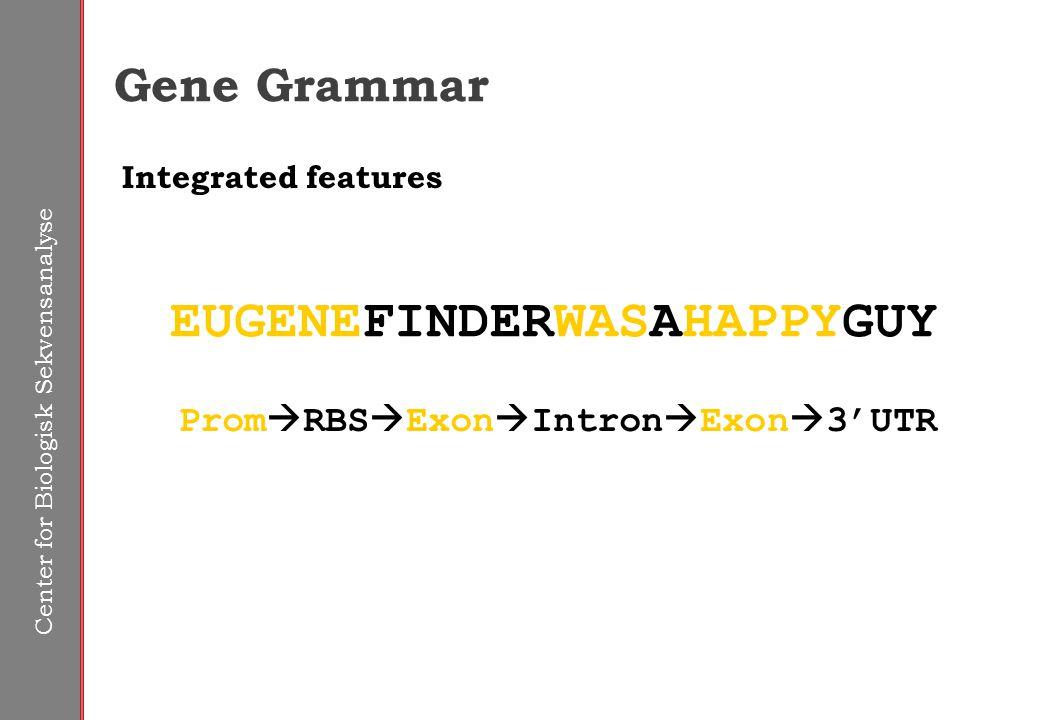 Center for Biologisk Sekvensanalyse Gene Grammar EUGENEFINDERWASAHAPPYGUY Integrated features Prom  RBS  Exon  Intron  Exon  3'UTR