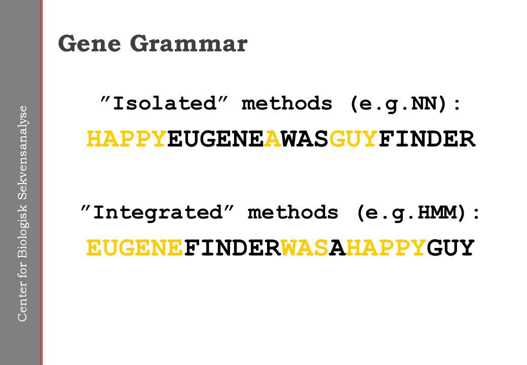 Center for Biologisk Sekvensanalyse Gene Grammar Isolated methods (e.g.NN): HAPPYEUGENEAWASGUYFINDER Integrated methods (e.g.HMM): EUGENEFINDERWASAHAPPYGUY