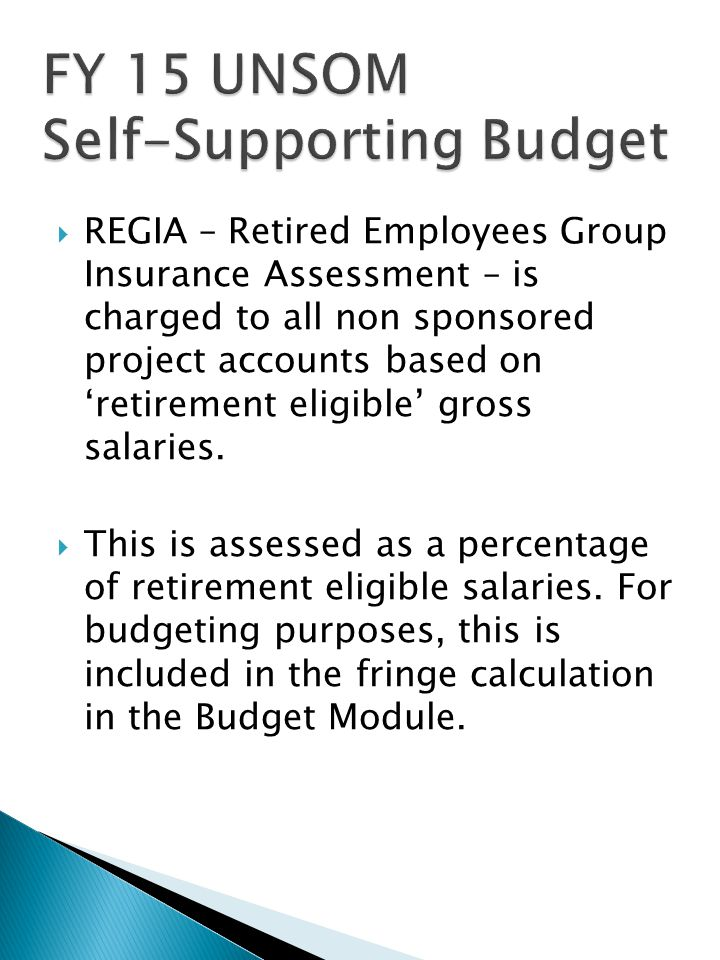  REGIA – Retired Employees Group Insurance Assessment – is charged to all non sponsored project accounts based on 'retirement eligible' gross salaries.