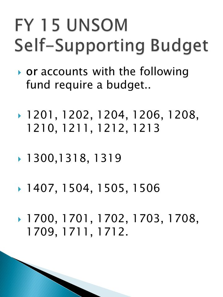  or accounts with the following fund require a budget..