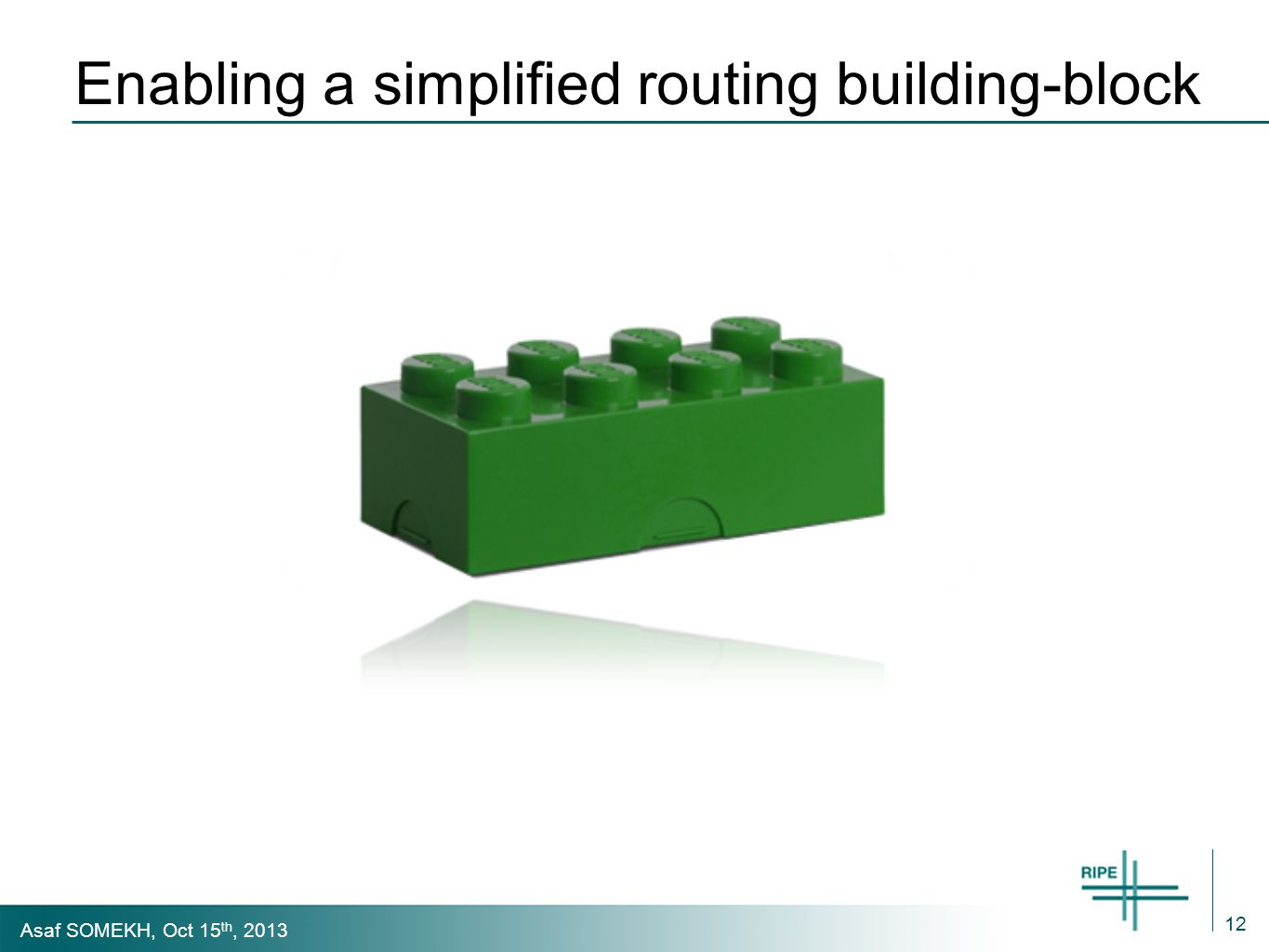 Asaf SOMEKH, Oct 15 th, 2013 Enabling a simplified routing building-block 12