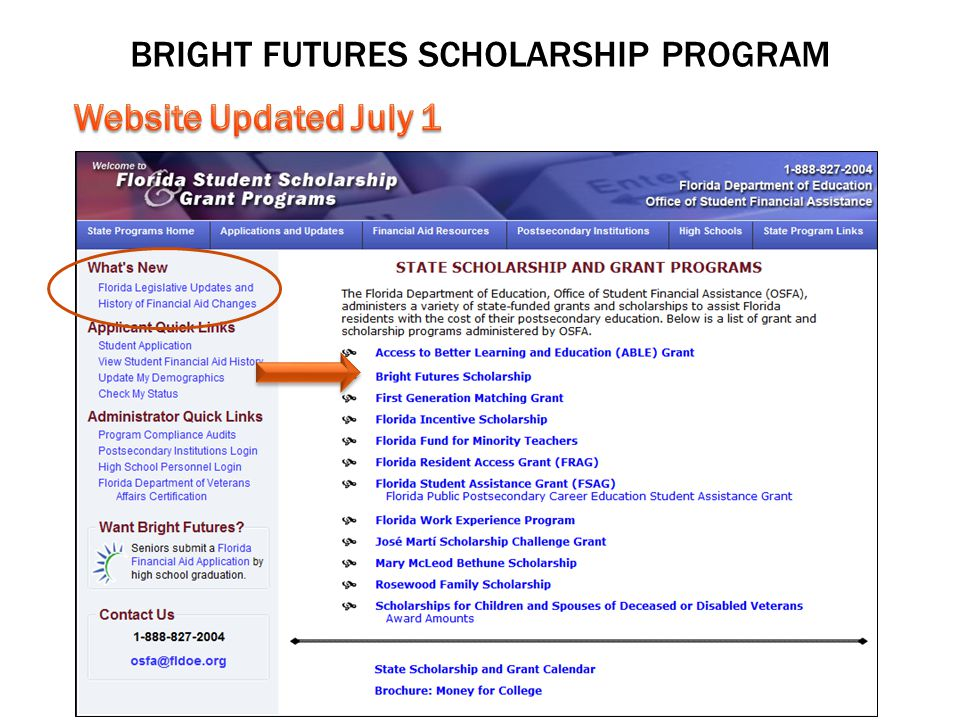 BRIGHT FUTURES SCHOLARSHIP PROGRAM 2