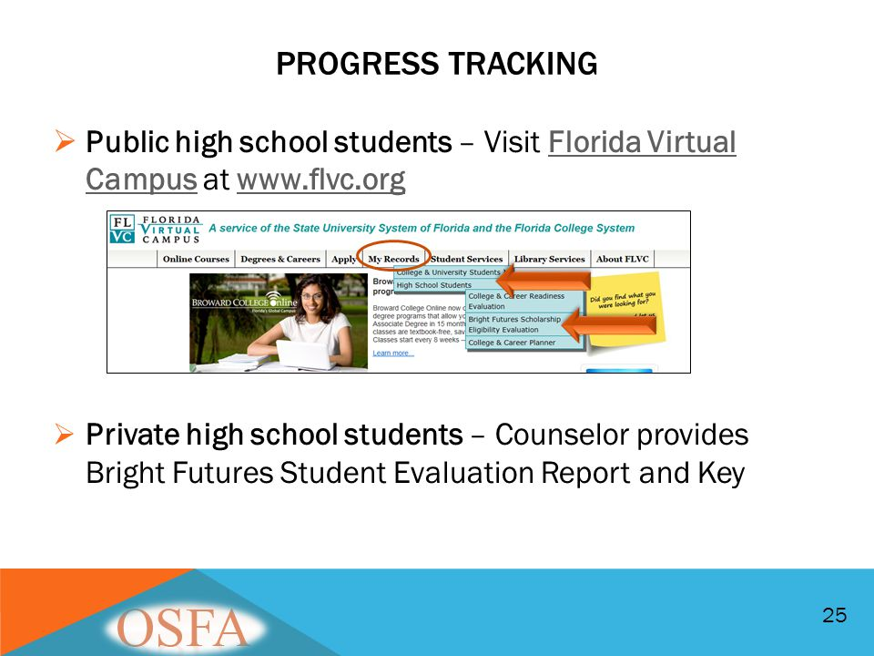 PROGRESS TRACKING  Public high school students – Visit Florida Virtual Campus at www.flvc.orgFlorida Virtual Campuswww.flvc.org  Private high school