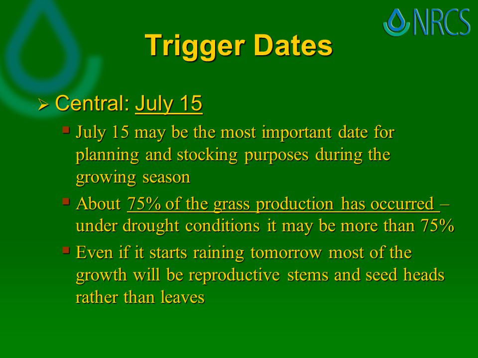 Trigger Dates  Central: July 15  July 15 may be the most important date for planning and stocking purposes during the growing season  About 75% of the grass production has occurred – under drought conditions it may be more than 75%  Even if it starts raining tomorrow most of the growth will be reproductive stems and seed heads rather than leaves