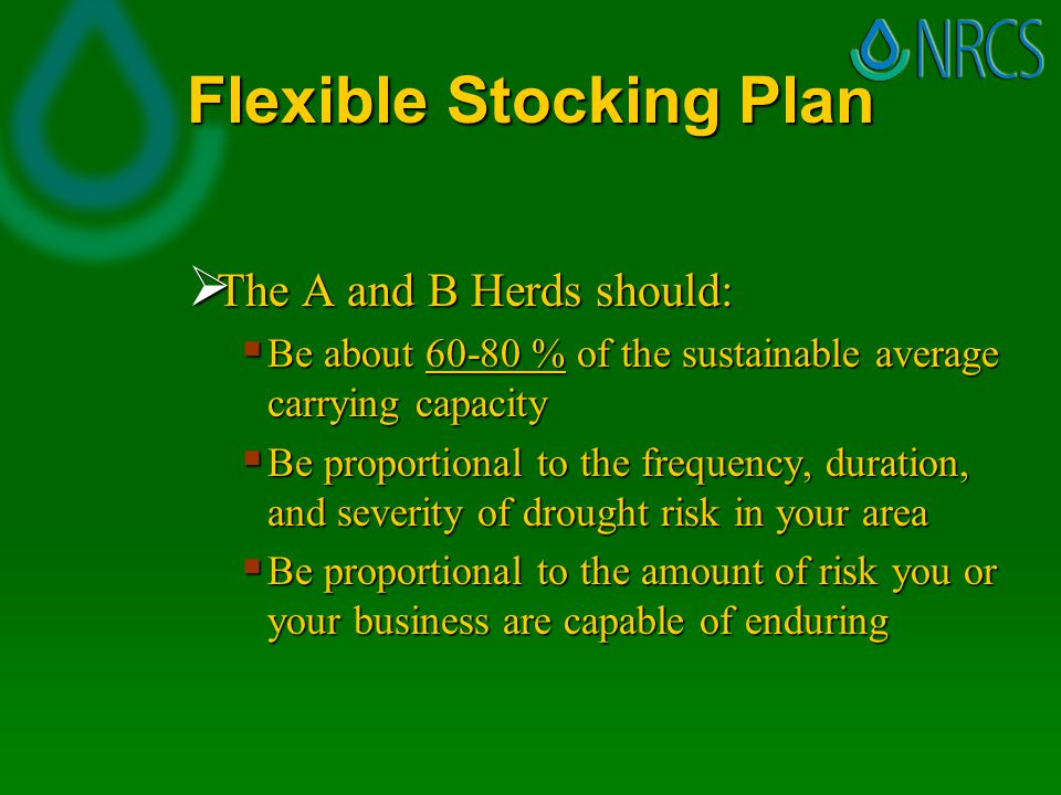 Flexible Stocking Plan  The A and B Herds should:  Be about 60-80 % of the sustainable average carrying capacity  Be proportional to the frequency, duration, and severity of drought risk in your area  Be proportional to the amount of risk you or your business are capable of enduring