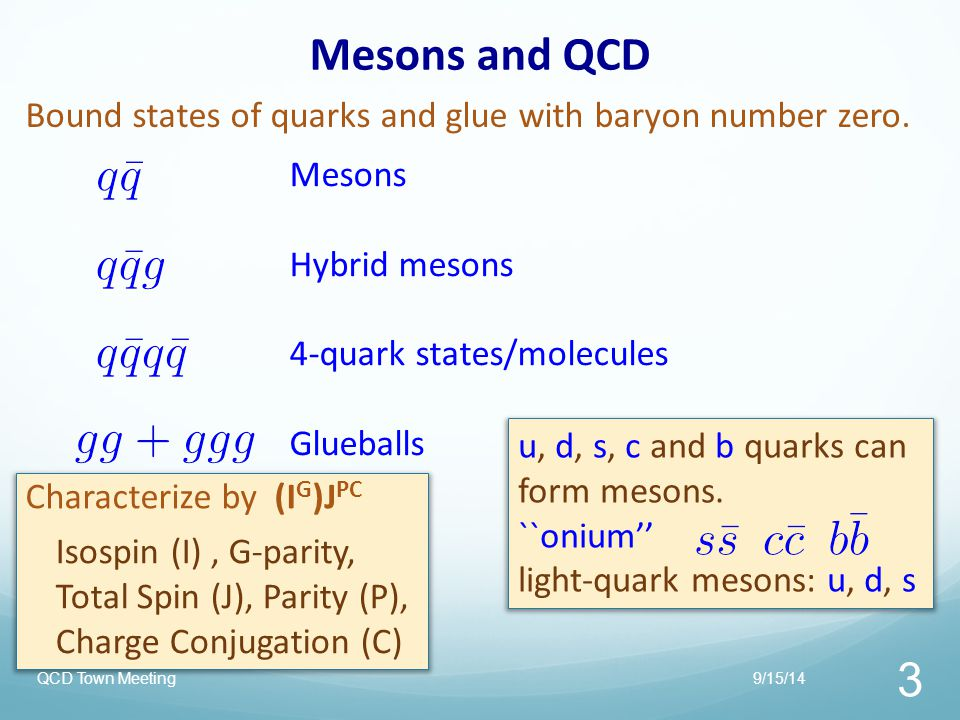 9/15/14QCD Town Meeting 4 Beyond the Quark Model Other configurations can be color-neutral: Hybrid Mesons where the gluonic field plays an active role.